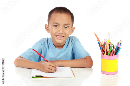 portrait of young boy studying against white © Odua Images