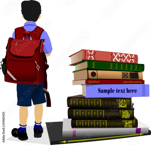 Schoolboy and column books. Vector illustration