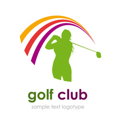 Logo woman play Golf # Vector