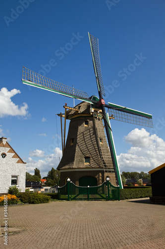 Dutch windmill with blue sky