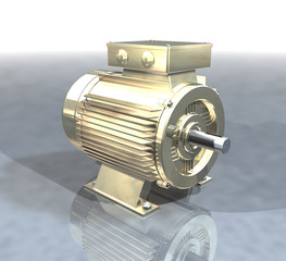A gold electric motor on a reflective surface