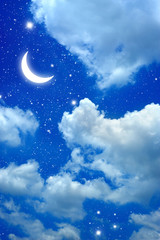 moon and star in The night sky
