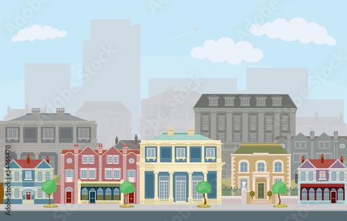 Urban street scene with smart townhouses