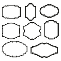 baroque simple set of black frames isolated on white