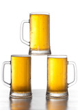 three mugs of beer