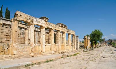 ruins of ancient city Hierapolis in Turkey
