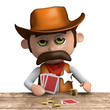 3d Sheriff plays poker with a poker face