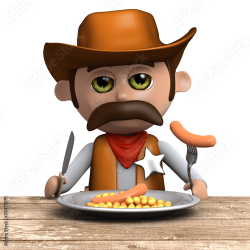 3d Sheriff eats his dinner in peace