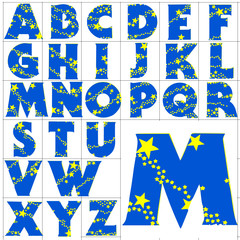 ABC Alphabet background wizardry blue design