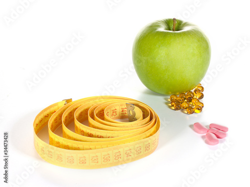 Tape measure, diet pills and fruits
