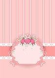 Frame with pink flowers vert