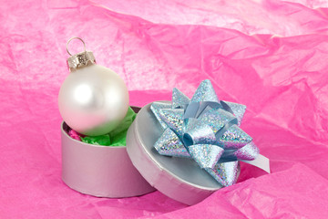 Tissue, Gift Box and Xmas Bauble