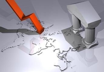 Mappa mondo andamento Borsa 3d