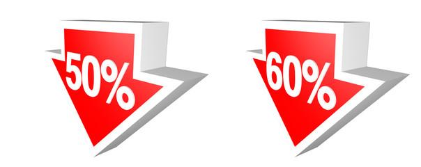 down 50% 60%