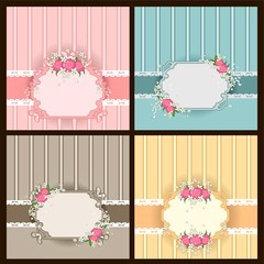 Set four frames with flowers