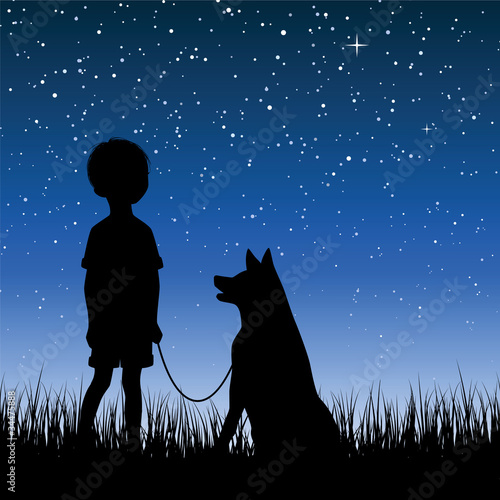 Little boy watching night sky