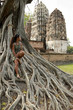 woman sitting banyan tree sukhothai