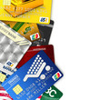 Fake credit cards with clipping path