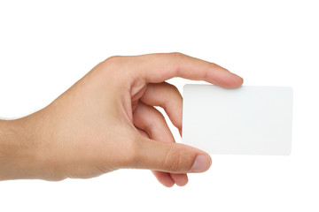 Credit card with empty space hand holding