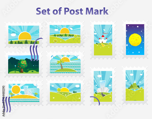 Set of vector post mark
