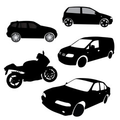 Silhouettes of Transportation Vector