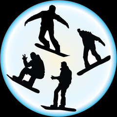 Silhouettes of Snowboarders Vector