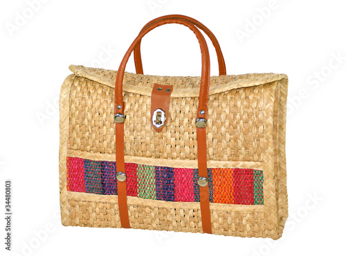 Hand-Made Woven Handbag Isolated on White