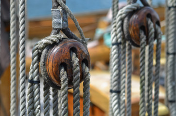 Old rigging on sailboat