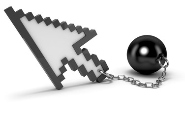 Mouse cursor with shackles. High quality 3d render.