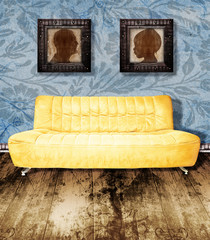 family portrait and couch on wallpaper