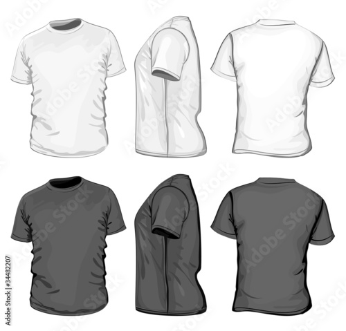 Vector. Men's t-shirt design template. No mesh. - 34482207