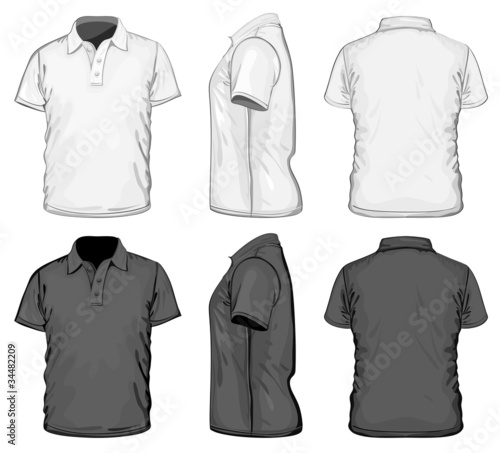 Vector. Men's polo-shirt design template. No mesh.