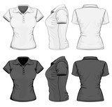 Vector. Women's polo-shirt design template. No mesh.
