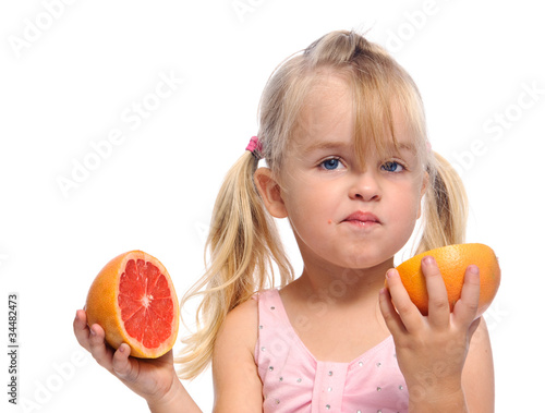 Girl has sour fruit face