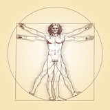 Fototapety Vitruvian Man, Leonardo da Vinci. The Vitruvian Man, based on the records of Leonardo da Vinci and the architect Vitruvius. Illustration on white background. Vector.