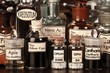 Various pharmacy bottles of homeopathic medicine