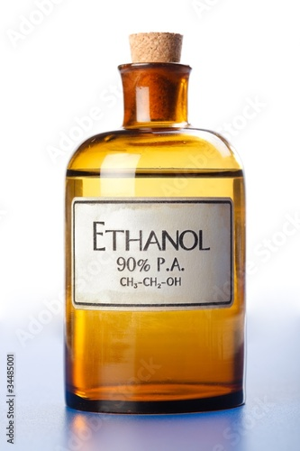 Ethanol, pure ethyl alcohol in bottle - 34485001