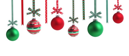 Multicolored christmas ball with ribbon bow