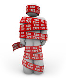 Person Wrapped Up in Red Tape of Bureaucracy Rules of Order