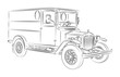 Oldtimer delivery van vector drawing