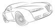 Modern european hatchback concept vector drawing