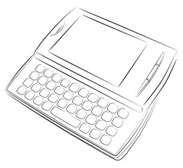 Cell phone with keyboard vector drawing