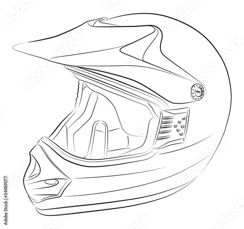 Standart motocross helmet vector drawing