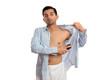 Man spraying deodorant anti-perspirant