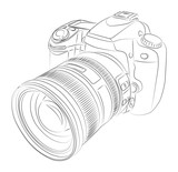 DSLR with lens vector drawing
