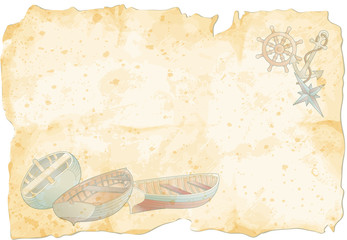old paper with rowboats and nautical elements