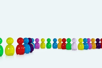 Multicolour row formed by 3d humans
