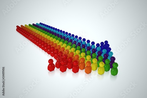 Multicolour arrow formed by 3d stylized human