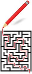 Gelöstes Labyrinth mit Stift