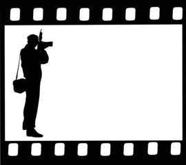photographer silhouette in film isolated on white
